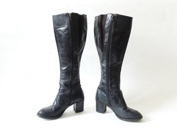 Vintage 70s Black Leather Boots/ 1970s Knee High C