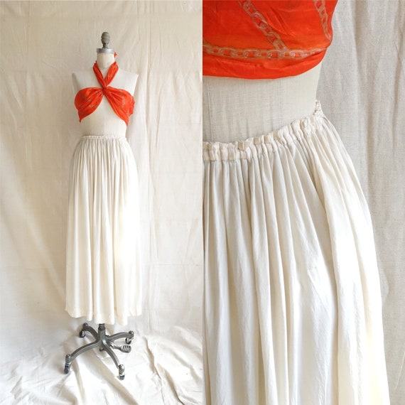 Vintage 80s Norma Kamali Ivory Silk Skirt/ 1980s G