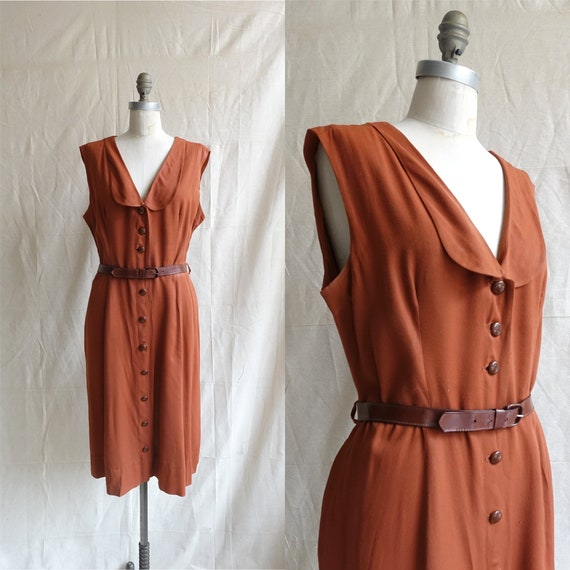 Vintage 40s Chestnut Rayon Dress/ 1940s Sleeveless
