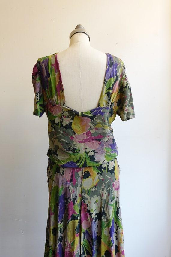 Vintage 30s 40s Dark Floral Silk Gown/ 1930s 1940… - image 7