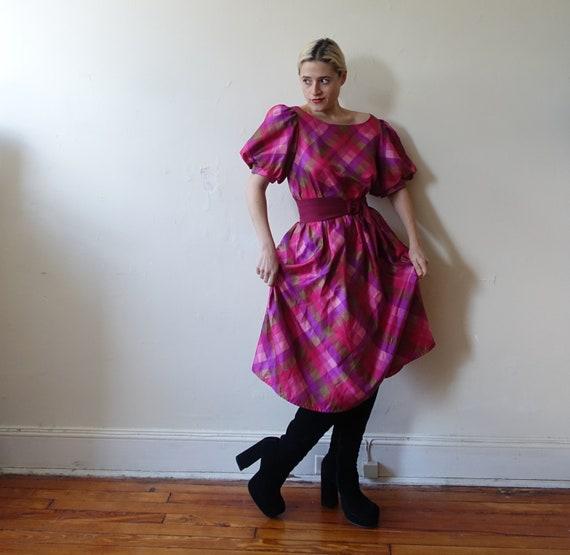 Vintage 80s Plaid Puff Sleeve Checked Dress/ 1980… - image 4