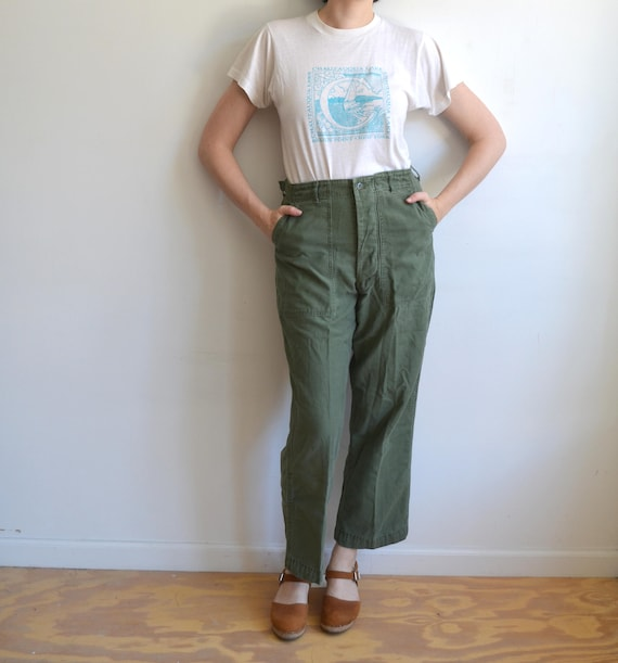 Vintage Army Utility Trousers/ US Military Type 1 Drab Green Pants/OG 507/ Size XS S 26 28/31 cBHRoeKLr