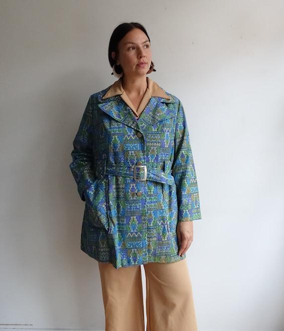 Vintage 60s Tapestry Print Jacket/ 1960s Belted Co