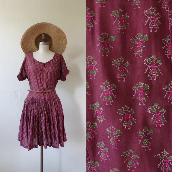 Vintage 80s Block Printed Indian Cotton Drop Waist