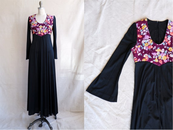 Vintage 70s Bell Sleeve Maxi Dress/ 1970s Floral S