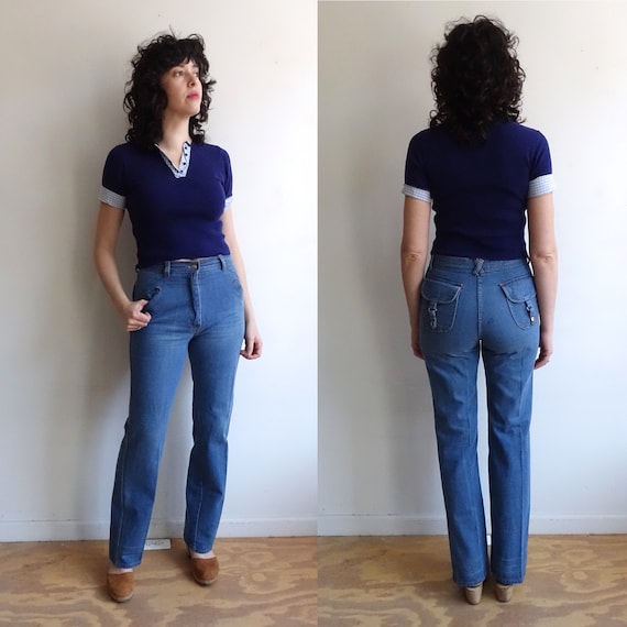Vintage 70s Denim/ 1970s High Waisted Wide Leg Jea