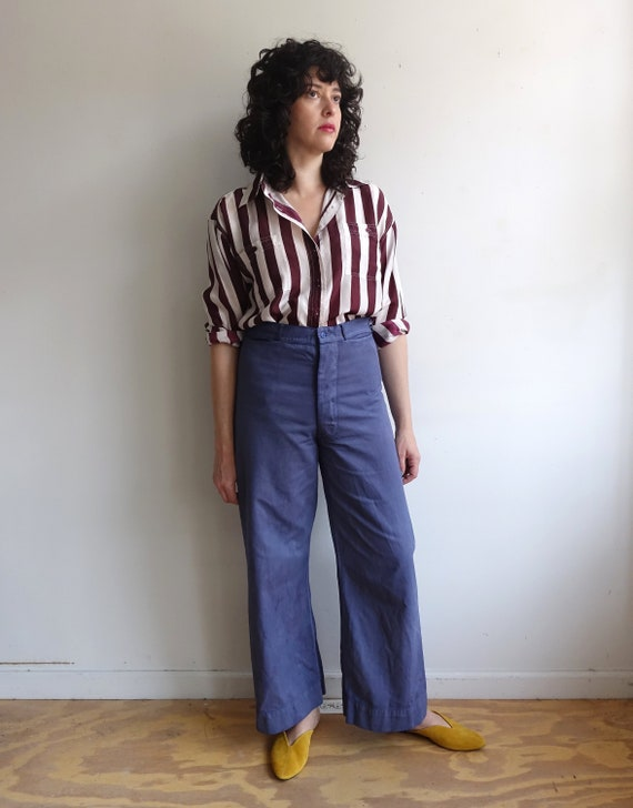 Vintage Overdyed Sailor Trousers/Hand Dyed Button