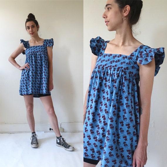 Vintage 70s Block Printed Indian Cotton Mini Dress