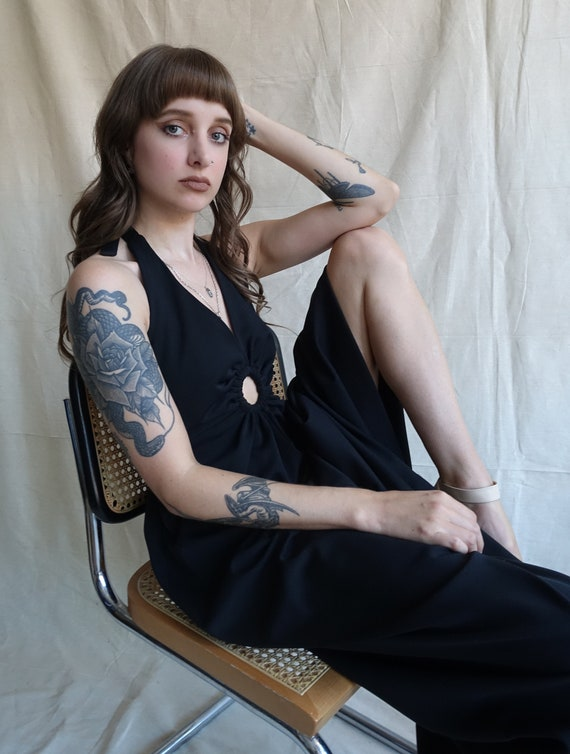 Vintage 70s Keyhole Black Halter Dress/ 1970s Cut