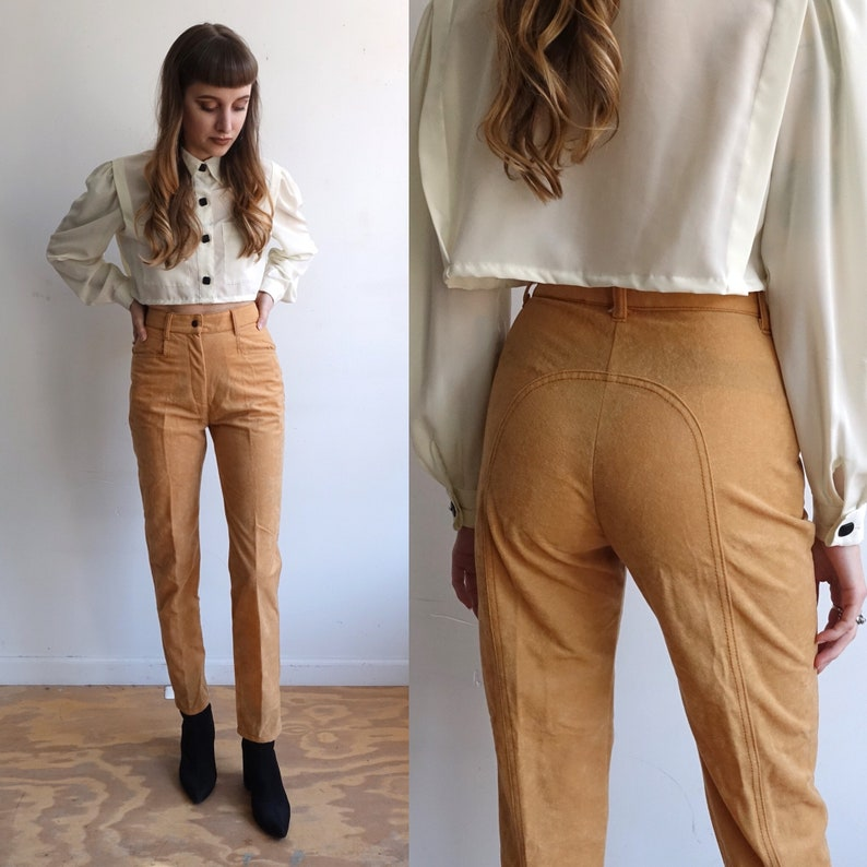 Vintage 70s Fredericks of Hollywood Tan Horseshoe Western Pants 1970s High Waisted Straight LegFaux Suede Size XS