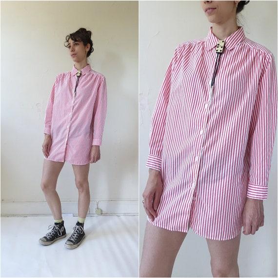 Vintage 80s Striped Cotton Oversized Shirt/ 1980s