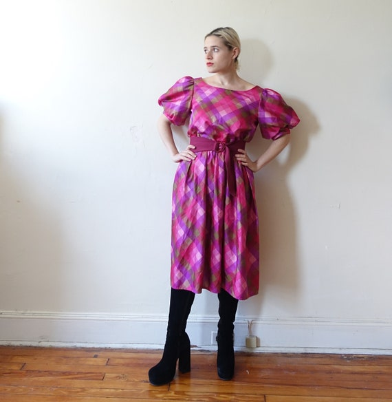 Vintage 80s Plaid Puff Sleeve Checked Dress/ 1980… - image 3