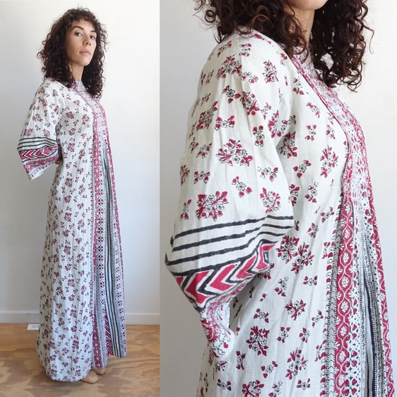 Vintage 70s Hand Printed Indian Cotton Dress with