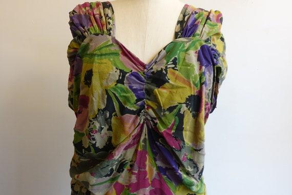 Vintage 30s 40s Dark Floral Silk Gown/ 1930s 1940… - image 5