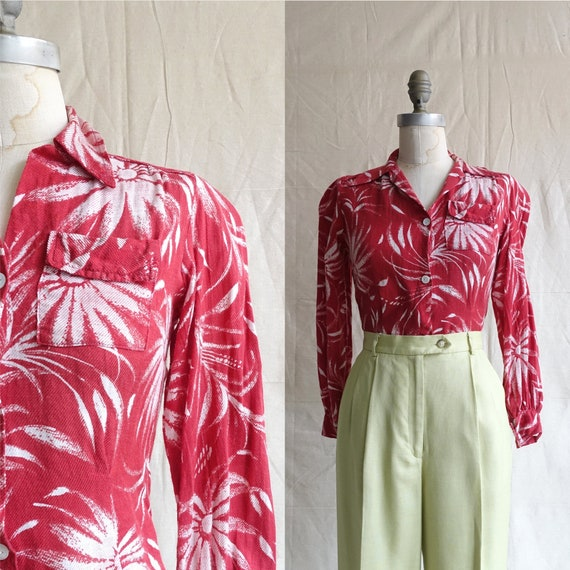 Vintage 40s Floral Blouse with Chest Pocket and Pu