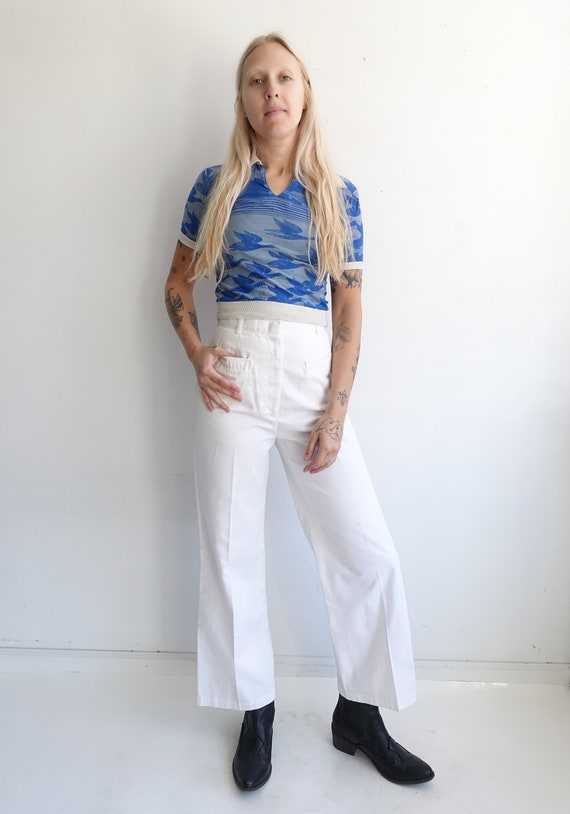 Vintage 80s White Sailor Pants/ High Waisted Wide