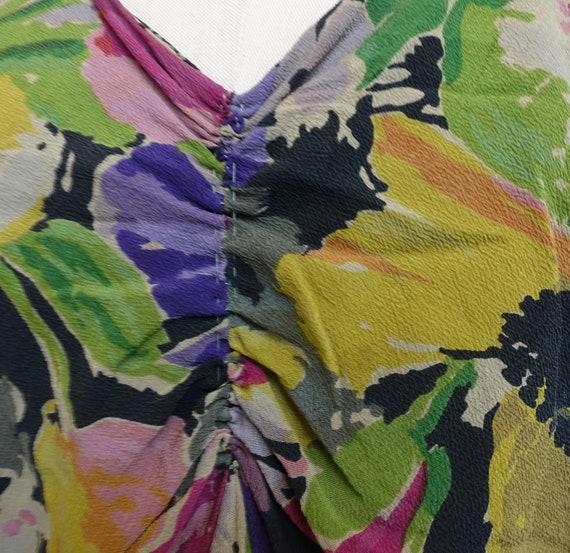 Vintage 30s 40s Dark Floral Silk Gown/ 1930s 1940… - image 8