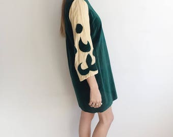 Vintage 40s Velvet applique Dress/ 1940s Green and Ivory Tunic Dress with Bell Sleeves/Costume Theatre/ Wizard Mini Dress