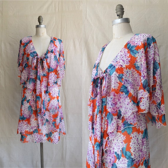 Vintage 80s Holly Harp Chiffon Dress/ 1970s 1980s
