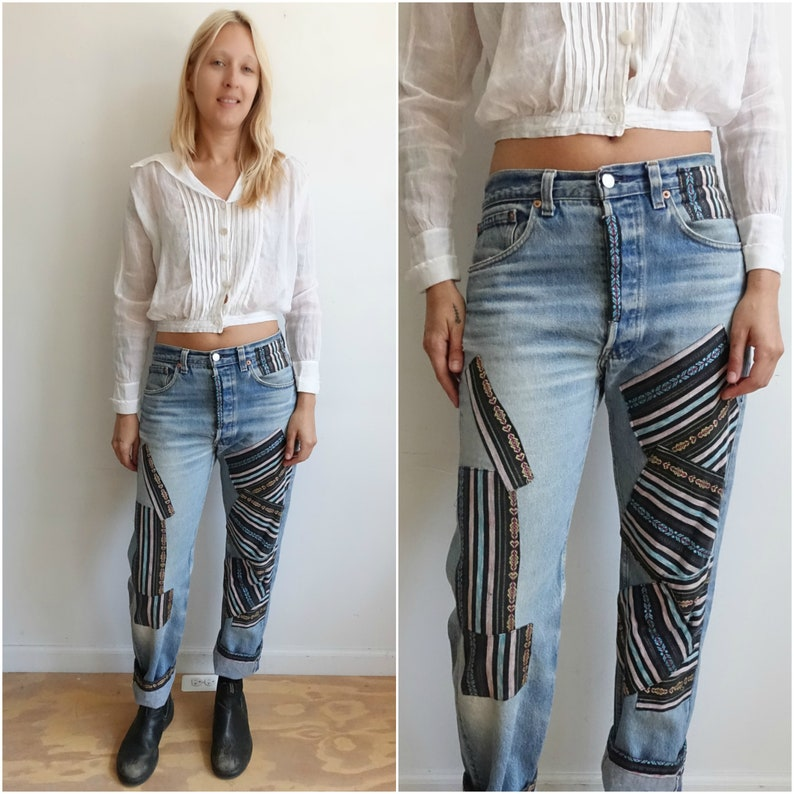995a6fc9422 Vintage 80s Patched Levi 501xx Denim  USA Made Distressed 501