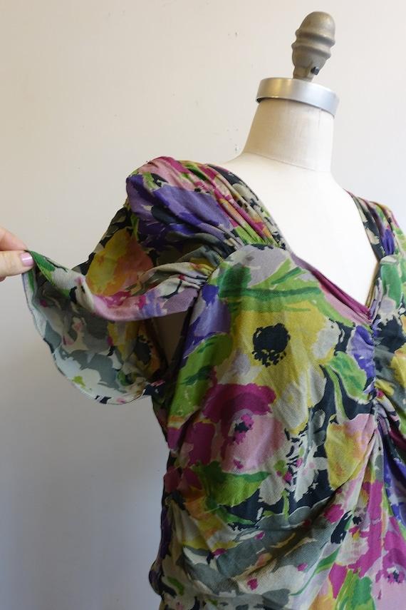 Vintage 30s 40s Dark Floral Silk Gown/ 1930s 1940… - image 6