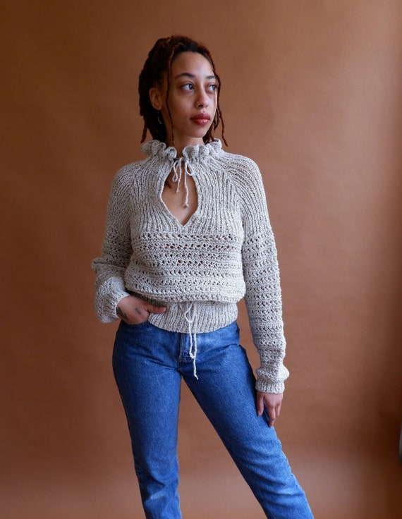 Vintage Keyhole Knit Sweater with Drawstring Waist