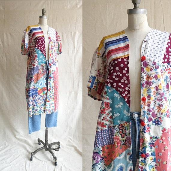 Vintage 60s Patchwork House Coat/ 1960s Quilt Jack