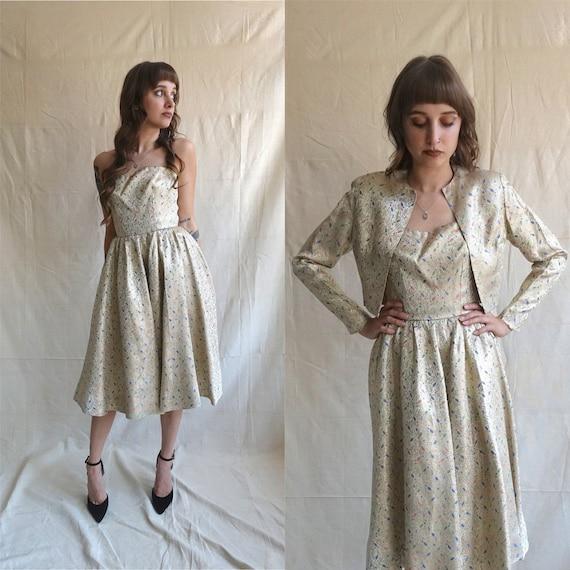 Vintage 50s Gold Brocade Dress and Bolero Set/ 195