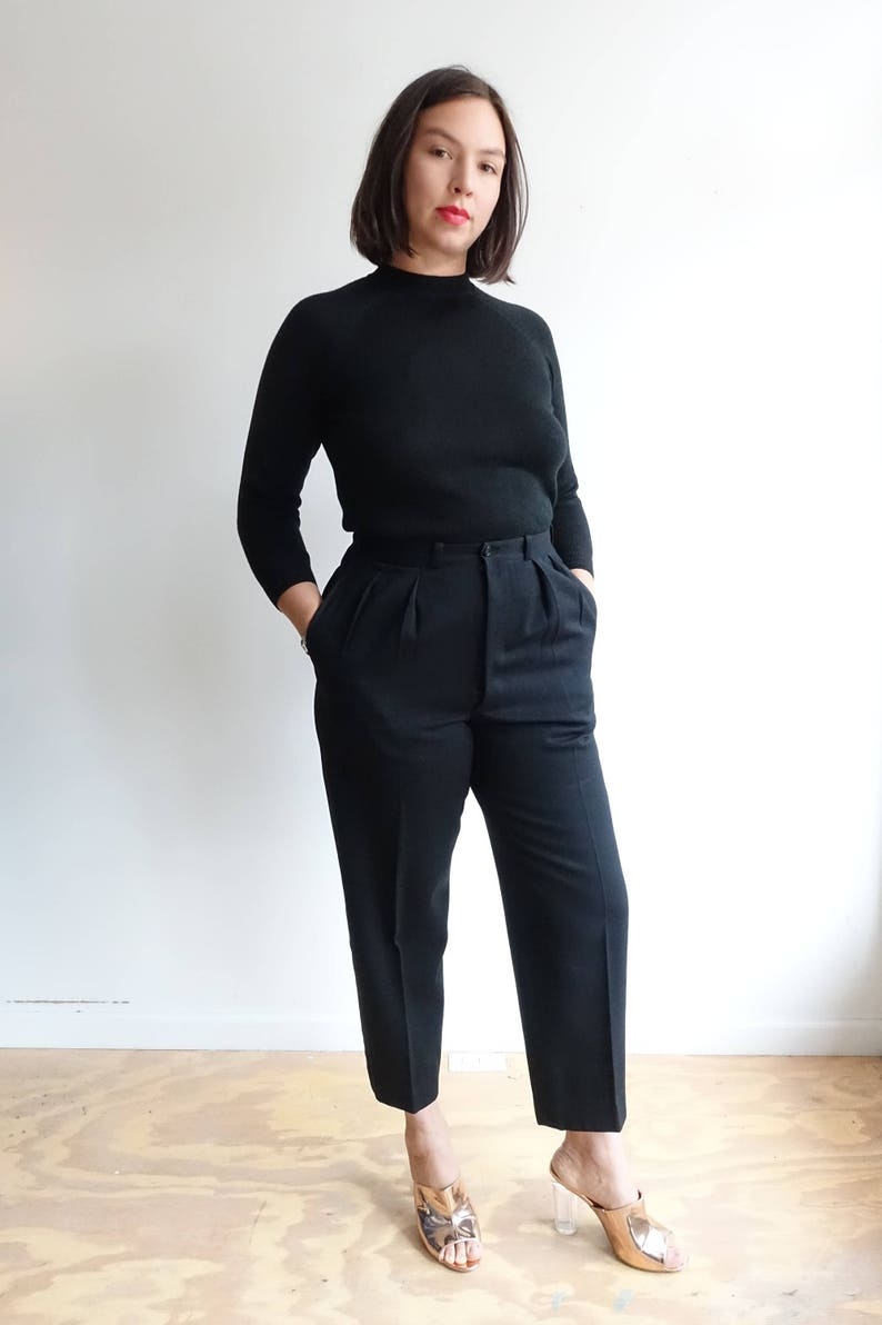 Vintage 40s Black Wool Tuxedo Trousers 1940s Pleated High Etsy