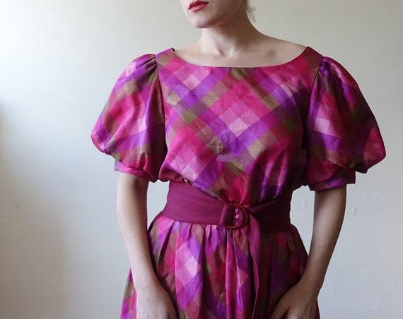 Vintage 80s Plaid Puff Sleeve Checked Dress/ 1980… - image 2