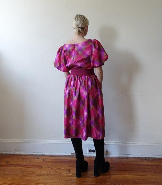 Vintage 80s Plaid Puff Sleeve Checked Dress/ 1980… - image 6
