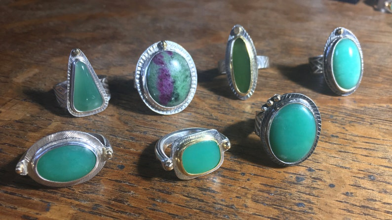 CHRYSOPRASE Ring  Size 6 12  Oxidized SILVER Textured /& Patterned w 14k GOLD Bead Adornments  Good Green Color Made in California *!*!