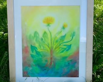 Dandelion - Framed Original Waldorf Watercolor Painting