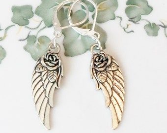 80pcs Silver//Gold Color 2Sided Wings Charms Jewelry DIY 17x5mm 1263