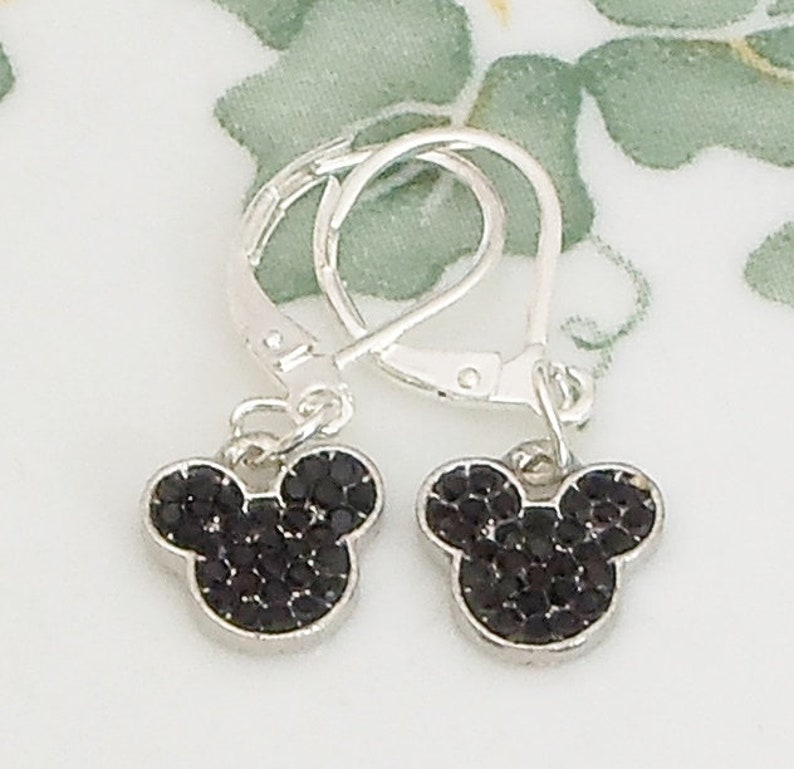 Black Mickey Minnie Mouse 925 Silver Lever back drop Earrings Crystal handmade
