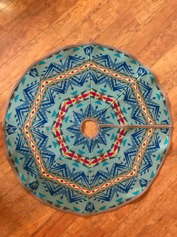 Christmas Tree Skirt 42 Inch Diameter Wool Sage Green & Blue Echo Peaks