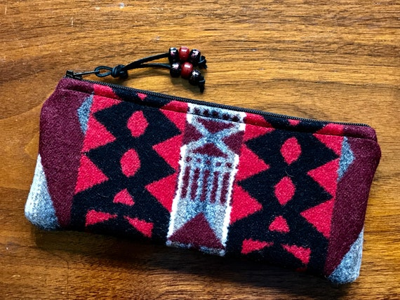 Wool Sunglasses Case / Glasses  Case / Tampon Case / Zippered Pouch Red LaPaz