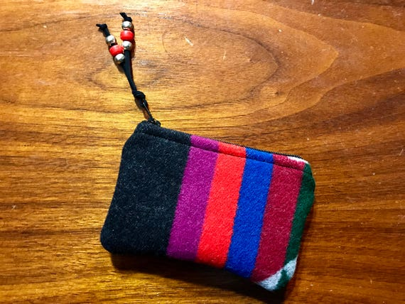 Wool Coin Purse / Phone Cord / Gift Card Holder / Zippered Pouch Bold Stripes