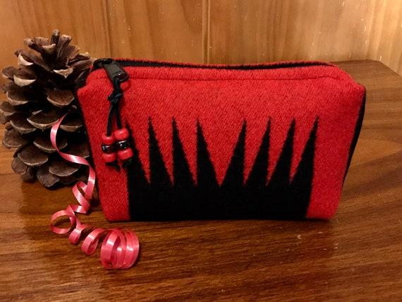 Cosmetic Bag / Makeup Bag / Zippered Pouch Medium Red Harding