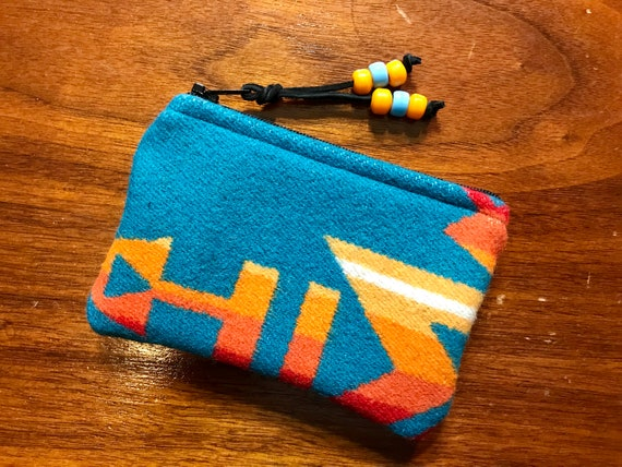 Wool Coin Purse / Phone Cord / Gift Card Holder / Zippered Pouch XL Turquoise Overall