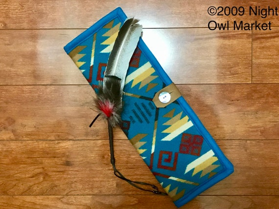 Feather Holder / Feather Case Wool Turquoise Coyote Butte