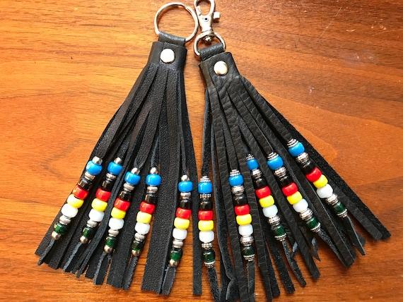 Beaded Leather Tassel Keyring / Swivel Hook - 4 Directions Double Fringe 5 Strand Beadwork - Zipper Pull / Purse Decoration / Boho Accessory