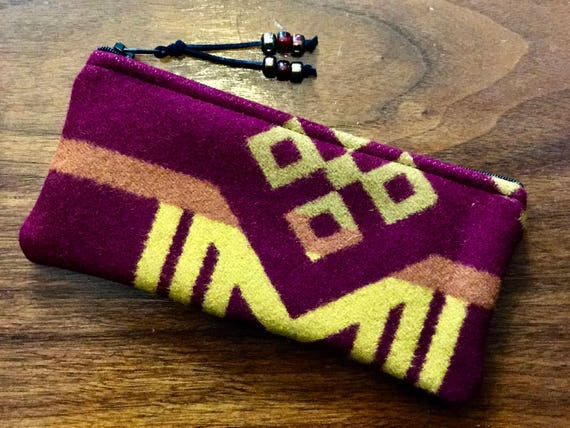 Wool Sunglasses Case / Glasses  Case / Tampon Case / Zippered Pouch Maroon & Gold