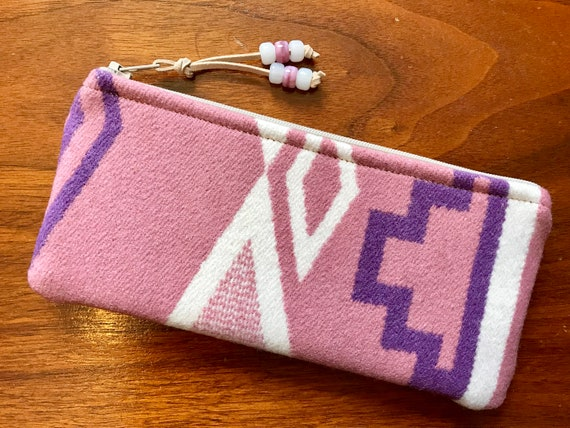 Wool Sunglasses Case / Glasses  Case / Tampon Case / Zippered Pouch Pink Occhino