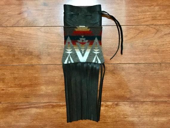 Fringed Possibles Bag Large / Cedar Bag Medicine Bag / Drawstring Bag Earthtones Wool & Leather
