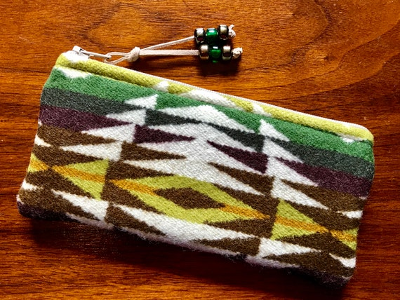 Wool Glasses  Case / Tampon Case / Zippered Pouch Green Pecos