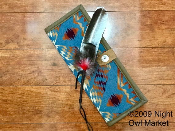 Feather Holder Wool / Feather Case Denim Earthquake & Thunder