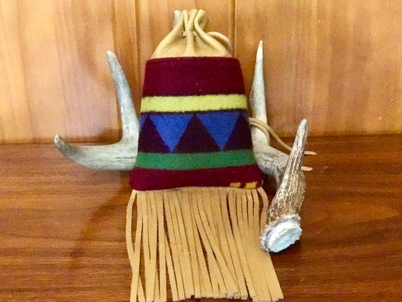 Fringed Medicine Bag XL / Cedar Bag / Possibles Bag / Drawstring Bag Wool and Leather
