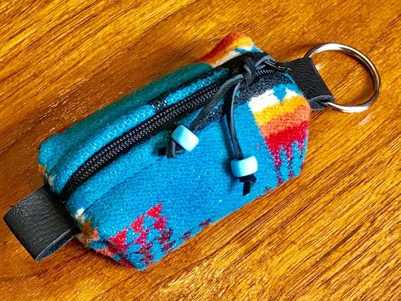 Wool Keychain Toiletry / Dopp Pouch / Purse Ornament Turquoise Mini Chief Joseph