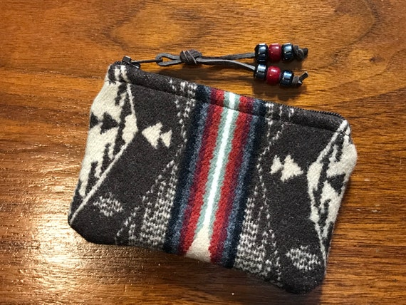 Wool Coin Purse / Phone Cord / Gift Card Holder / Zippered Pouch XL Mini Spirit of the People